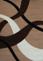 Generations Brand New Contemporary Brown and Beige Modern Wavy Circles Area Rug 7'10 x 10'5
