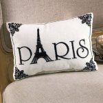 Paris - Small Cute Embroidered ACCENT Pillow (5.5 x 8.5