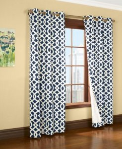 Trellis Thermalogic Navy 80 X 84 Grommet Top Curtains