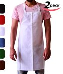 Utopia Kitchen Bib Aprons Cotton Polyester Commercial Restaurant, 2-Pack, White
