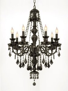 NEW! JET BLACK GOTHIC CRYSTAL CHANDELIER LIGHTING H37 x W26inch FREE S-H!