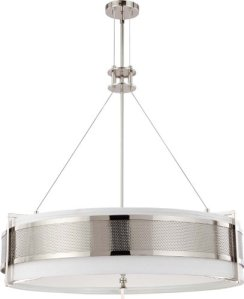 Nuvo Lighting 60-4444 Six Light Diesel Round Pendant with Slate Gray Fabric Shade-Frosted Diffuser, Polished Nickel