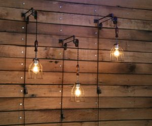 Pulley Wall mount with Industrial Cage Light and Wooden Handle - Pendant Light by Industrial Rewind