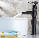 Rozinsanitary Waterfall Bathroom Sink Vessel Faucet Oil Rubbed Bronze One Hole Basin Mixer Tap