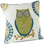 SARO LIFESTYLE 1484 Owl Square Pillow, 18-Inch, Chartreuse