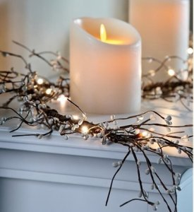 Battery Operated Lighted Holiday Garland , In White