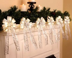 Silver Lighted Garland with Silver Bows 10 feet long