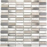 Stainless Steel + Stone Mix Mosaic - Ivory - 12x12 inch