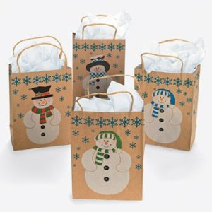 12 SNOWMAN Gift Bags w JUTE Cord Handles CHRISTMAS Holiday CRAFT Paper COUNTRY Dozen