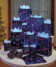 26 Piece Glow-in-the-dark Christmas Holiday Gift Bag Set 11 Bags with Tissue Paper