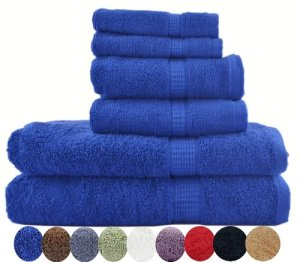 6 Piece Luxury Combed Cotton Bath Towel Set - 2 Bath Towel 30 x 56 inch, 2 Hand Towel 16 x 30 inch and 2 Washcloths 13 x 13 inch 1700gm - Royal Blue