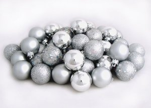 60ct Silver Splendor Shatterproof 4-Finish Christmas Ball Ornaments 2.5 inch (60mm)