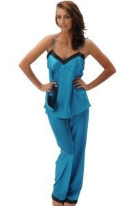 Alexander Del Rossa Women's Satin Cami Tank Pajama Set with Pants and Sleep Mask