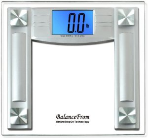 BalanceFrom High Accuracy Digital Bathroom Scale with 4.3inch Extra Large Cool Blue Backlight Display and Smart Step-On Technology NEWEST VERSION