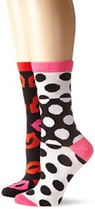 Betsey Johnson Women's Kissy Split Crew Sock Gift Box Two-Pack