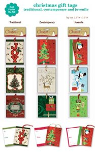 Christmas Gift Tags Embelished Foil Finish Holiday Present Name Tags 36 Jumbo Hangers in 9 Assorted Designs Santa...