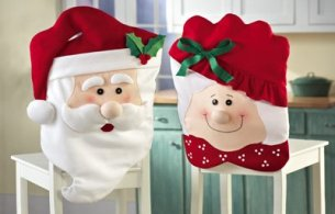 CHRISTMAS KITCHEN CHAIR COVER FEATURING MR AND MRS SANTA CLAUS -Transform Your Dining Room Chairs And Your Home