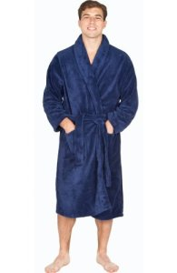 Del Rossa Men's Classic Fleece Shawl Collar Bathrobe Robe