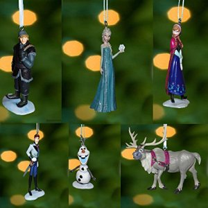 Disney Frozen Christmas Tree Ornament Set Featuring Anna, Elsa, Hans, Kristoff, Sven the Reindeer, Olaf the Snowman...