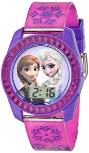 Disney Kids' FZN3598 Frozen Anna and Elsa Digital Watch with Purple Snowflake Band