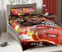 Disney Pixar Cars Blazing Speeding Duo Bedding Comforter Set with Fitted Sheet - Twin Size