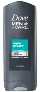 Dove Men+Care Aqua Impact Body and Face Wash, 18 Ounces