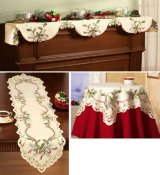 Embroidered Holiday Hollyberry Table Linens Runner