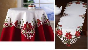 Embroidered Holiday Poinsettia Table Linens Runner