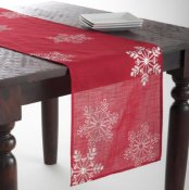 Embroidered White Snowflake Holiday Christmas Red Table Runner. 16x70 inch Rectangular. One Piece