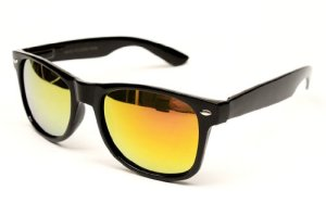 Flat Matte Reflective Revo Color Lens Large Horn Rimmed Style Sunglasses - UV400 (Black-Sun)