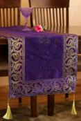 Hand Painted Deluxe Floral Table Runner (Plum Purple, 120X 17 inch)