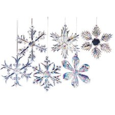 Kurt Adler 2 inch Glass Iridescent Snowflake Ornaments, 12-Piece Set