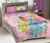 Licensed Disney Princess Royal Gardens Bedding Comforter Set with Fitted Sheet Twin Size