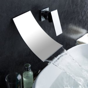 LightInTheBox Contemporary Single Handle Wall Mount Widespread Waterfall Bathroom Vanity Sink Lavatory Faucet, Chrome