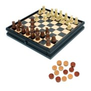 Medieval Chess & Checkers Game Set - Brown & Ivory Chessmen & Black Stained Wooden Board with Storage Drawers 15 in.