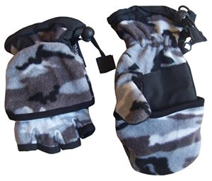 N'Ice Caps Big And Little Kids Thinsulate Lined Converter Fingerless Glove To Mitten (Camo print)