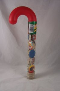 POGS - Candy Cane Tube, Filled with Assorted Pogs and Slammers