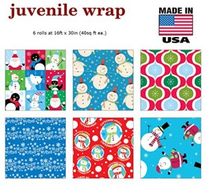 Premium Christmas Gift Wrap Juvenile Wrapping Paper Bulk for Men, Women, Boys, Girls, Kids 6 Different 16 ft X 30 in Rolls Included Xmas Santa, Snowman, Snowflake