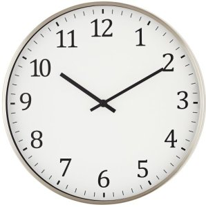 Satin Nickel 14inch Round Metal Wall Clock