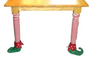 Set of 2 Christmas Elf Fabric Chair Table Leg Stocking Covers 31.5 inch