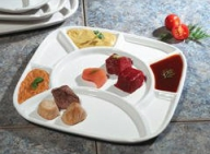 Trudeau Square Fondue Plate, Set of 4