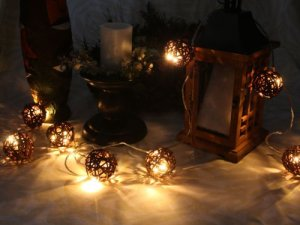 Warm White LED String Lights with Willow Ball, Christmas Lights, Party Lights (Free Shipping)