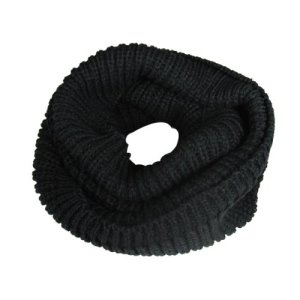 Wrapables Thick Knitted Winter Warm Infinity Scarf, Black