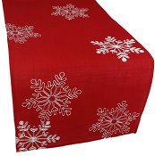 Xia Home Fashions Christmas Red Embroidered Table Runner with White Snowflakes, 15 by 108-Inch