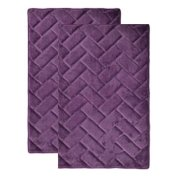 Plum Purple Memory Foam Bath Mat-rug  Brick Design, Spa Soft Microfiber, Non Skid Backing