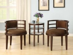 Sophia's Galleria 3 Piece Accent Chair and Side Table Set, Espresso Finish