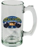 Super Bowl XLVIII 48 NFL Dueling Broncos Vs Seahawks Glass Beer Mug