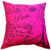 Artiwa Classic Fuchsia 18inchx18inch Canvas Cotton Sofa Couch Throw Decorative Accent Pillow Case with Vintage French Script Paris Postcard Design