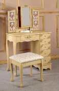 Coaster Queen Anne Style Vanity Table and Stool Bench Set, Hand Painted