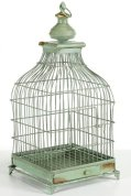 French Distressed Bird Cage, 22inHx11inSQ, ANTIQUE GREEN
